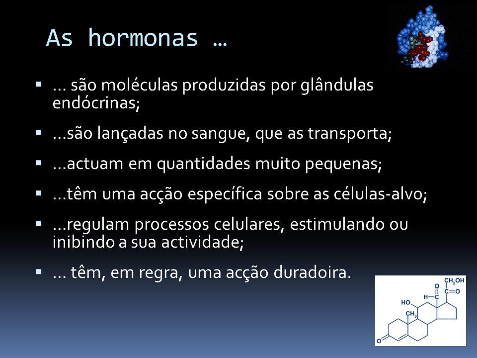 As hormonas … … são moléculas produzidas por glândulas endócrinas;