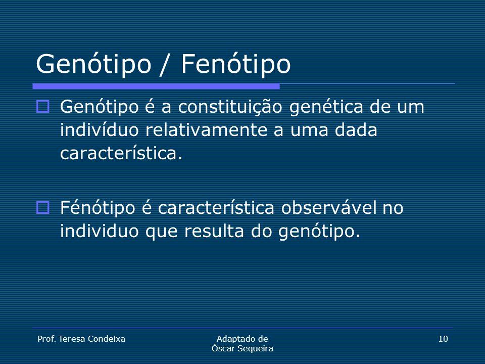Genótipo / Fenótipo Genótipo é a constituição genética de um indivíduo relativamente a uma dada característica.