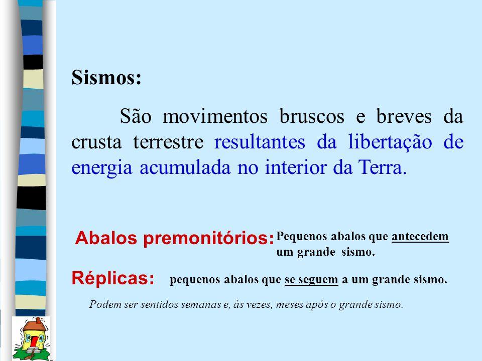 Sismos: São movimentos bruscos e breves da crusta terrestre resultantes da libertação de energia acumulada no interior da Terra.