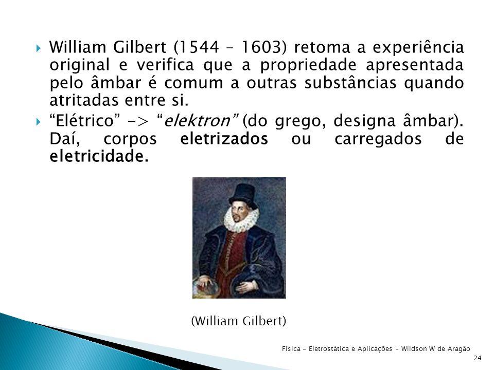 William Gilbert (1544 – 1603) retoma a experiência original e verifica que a propriedade apresentada pelo âmbar é comum a outras substâncias quando atritadas entre si.