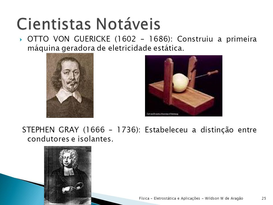 Cientistas Notáveis OTTO VON GUERICKE (1602 – 1686): Construiu a primeira máquina geradora de eletricidade estática.