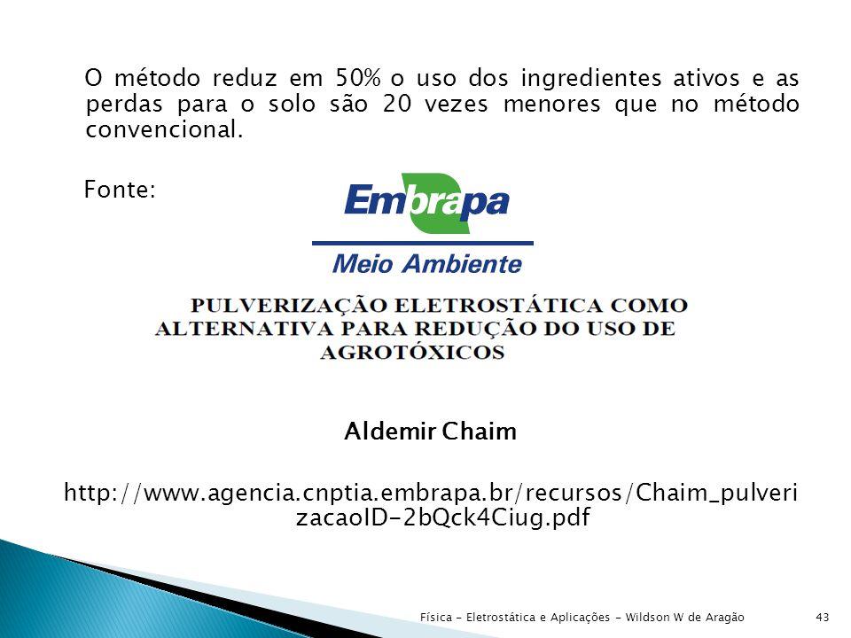 O método reduz em 50% o uso dos ingredientes ativos e as perdas para o solo são 20 vezes menores que no método convencional. Fonte: Aldemir Chaim http://www.agencia.cnptia.embrapa.br/recursos/Chaim_pulveri zacaoID-2bQck4Ciug.pdf
