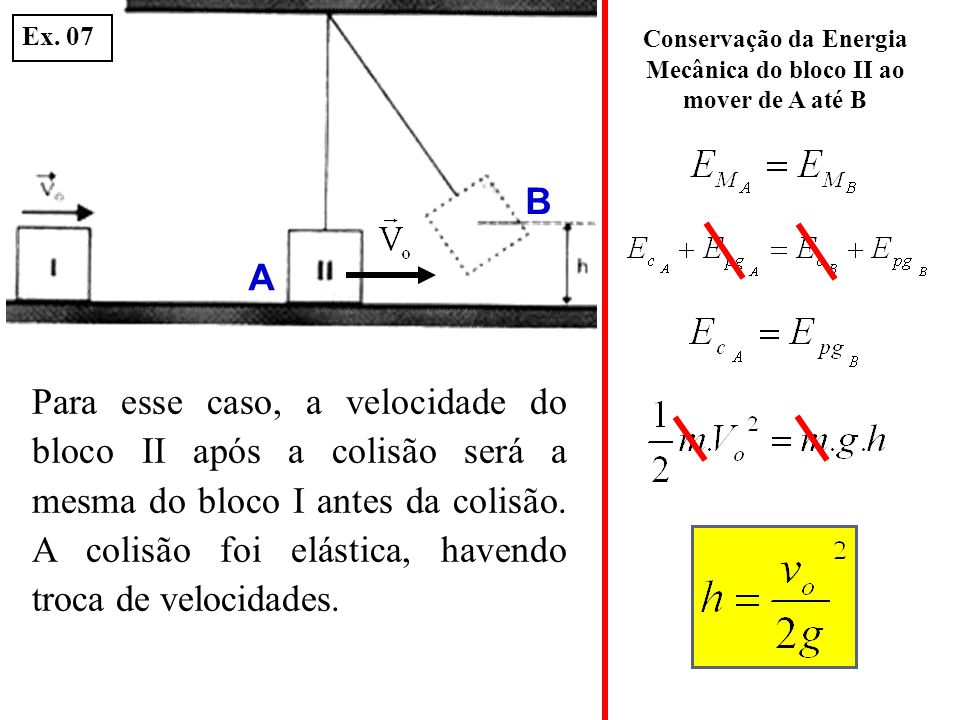 Conservação da Energia Mecânica do bloco II ao mover de A até B