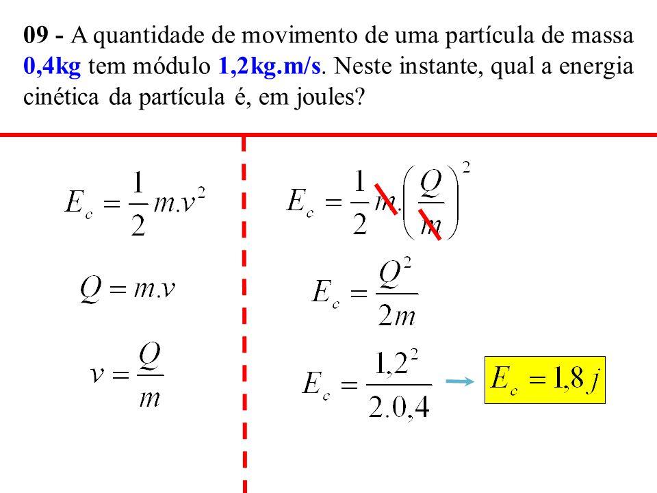 09 - A quantidade de movimento de uma partícula de massa 0,4kg tem módulo 1,2kg.m/s.