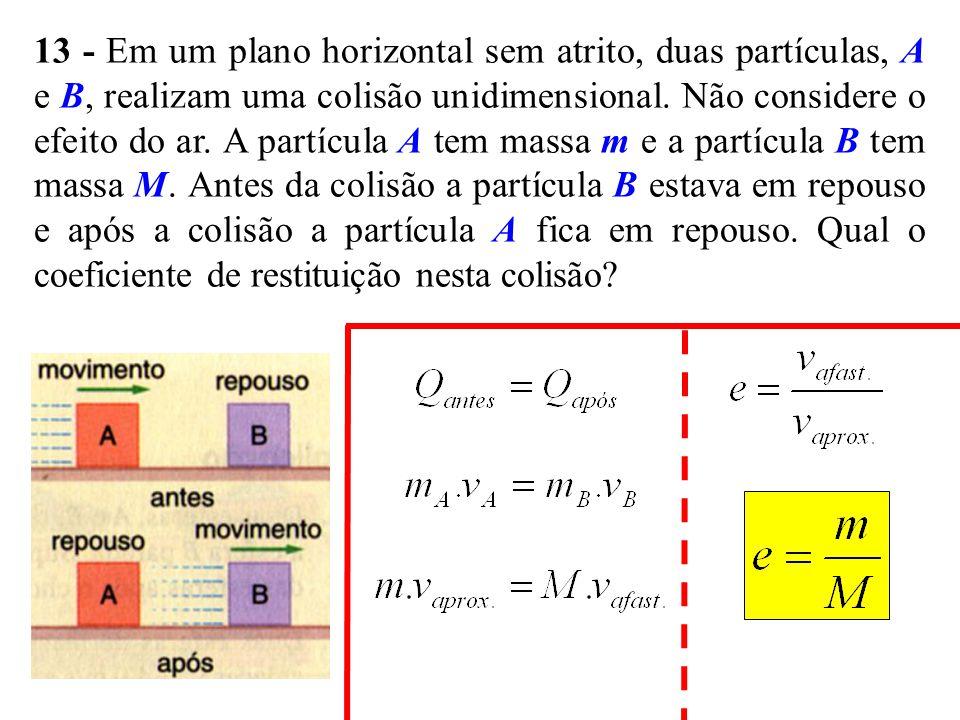 13 - Em um plano horizontal sem atrito, duas partículas, A e B, realizam uma colisão unidimensional.