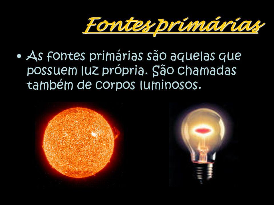 Fontes primárias As fontes primárias são aquelas que possuem luz própria.