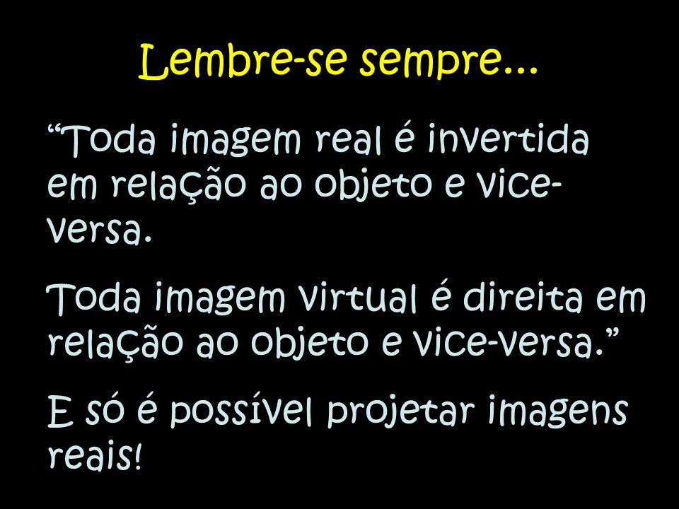 Lembre-se sempre... Toda imagem real é invertida em relação ao objeto e vice-versa.