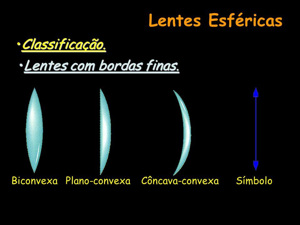 Lentes Esféricas Classificação. Lentes com bordas finas. Biconvexa