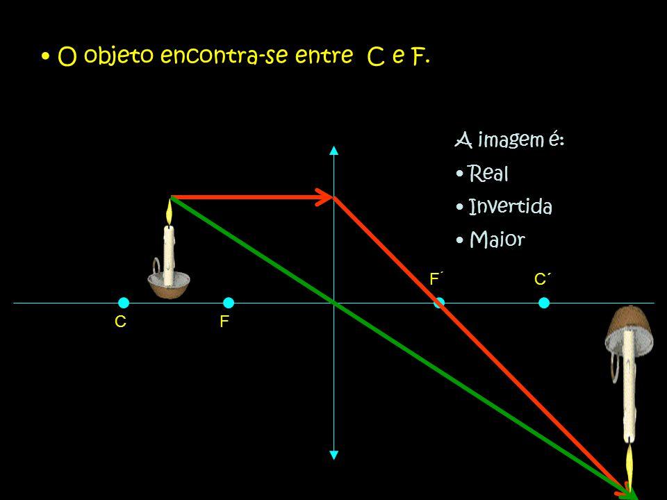 O objeto encontra-se entre C e F.