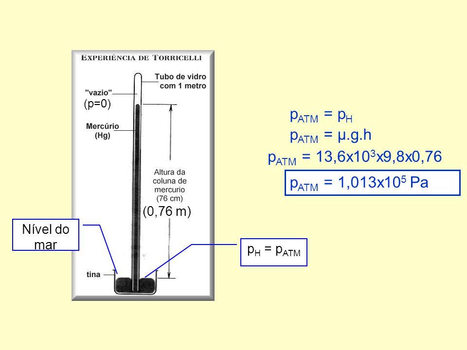 pATM = pH pATM = µ.g.h pATM = 13,6x103x9,8x0,76 pATM = 1,013x105 Pa