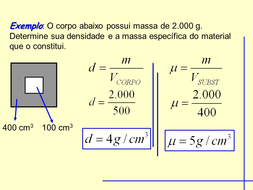 Exemplo: O corpo abaixo possui massa de 2. 000 g