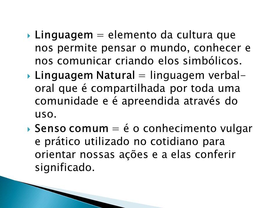 Linguagem = elemento da cultura que nos permite pensar o mundo, conhecer e nos comunicar criando elos simbólicos.