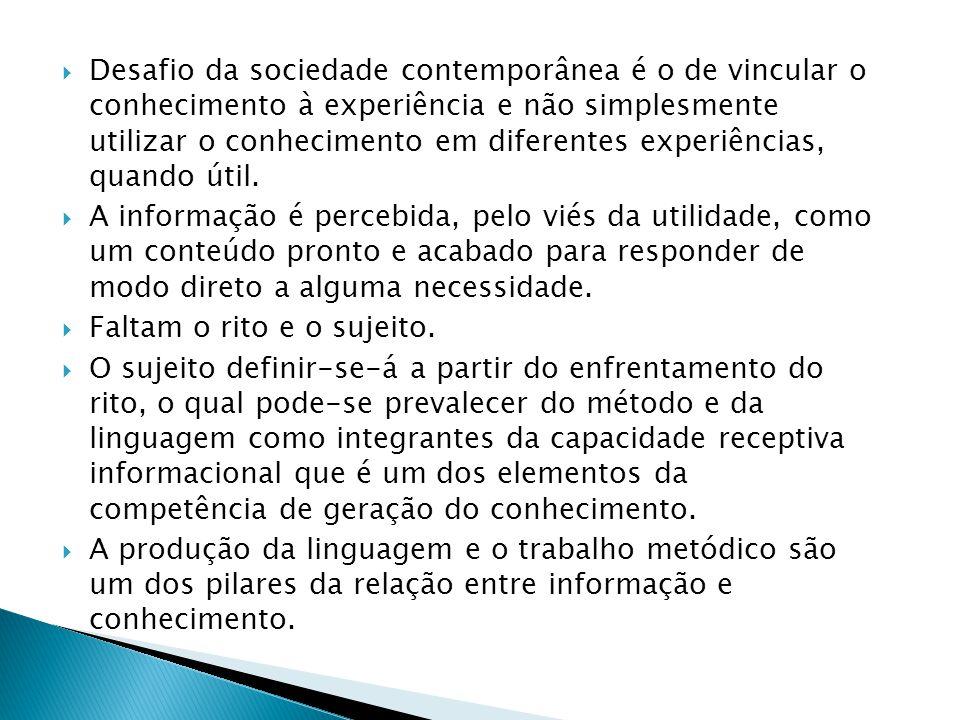 Desafio da sociedade contemporânea é o de vincular o conhecimento à experiência e não simplesmente utilizar o conhecimento em diferentes experiências, quando útil.
