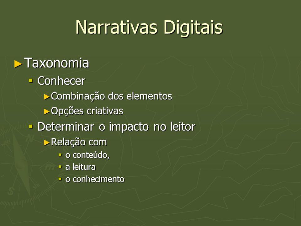 Narrativas Digitais Taxonomia Conhecer Determinar o impacto no leitor