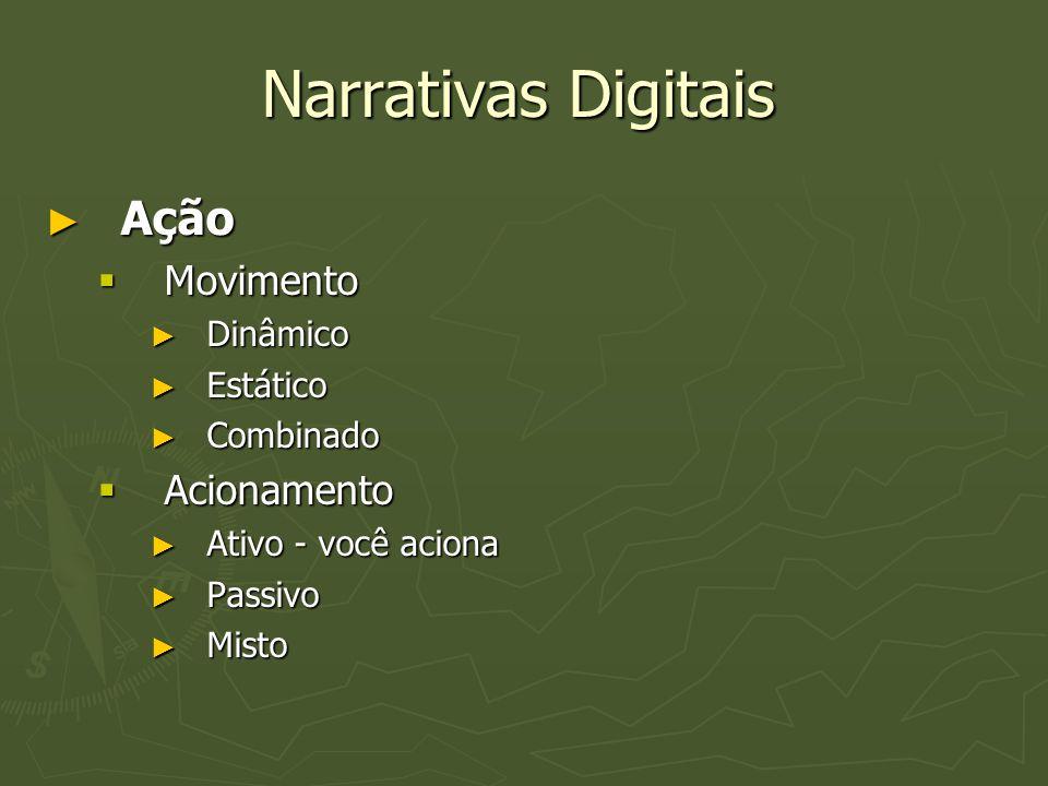 Narrativas Digitais Ação Movimento Acionamento Dinâmico Estático