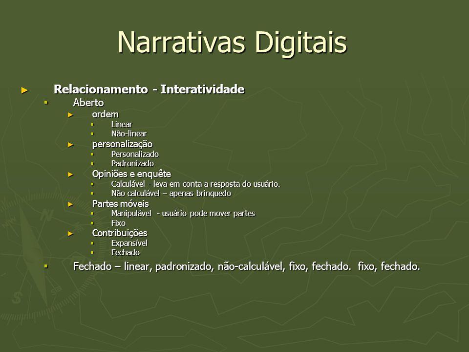 Narrativas Digitais Relacionamento - Interatividade Aberto