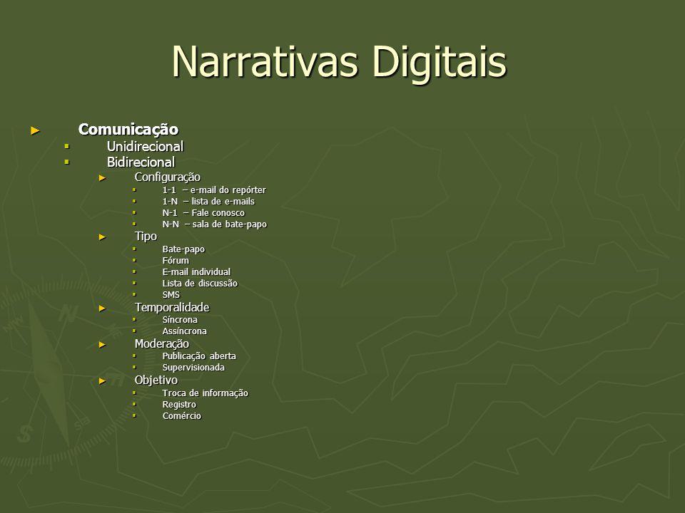 Narrativas Digitais Comunicação Unidirecional Bidirecional