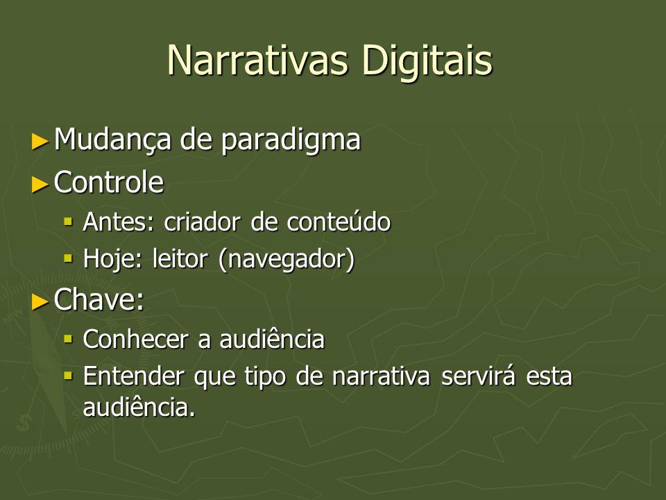 Narrativas Digitais Mudança de paradigma Controle Chave: