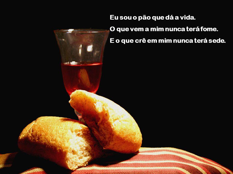Eu sou o pão que dá a vida. O que vem a mim nunca terá fome. E o que crê em mim nunca terá sede.