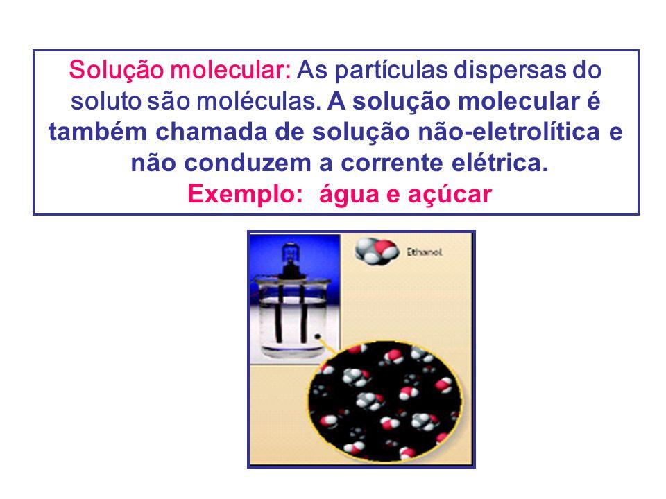 Solução molecular: As partículas dispersas do soluto são moléculas