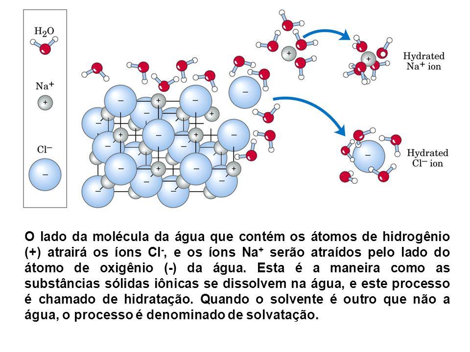 O lado da molécula da água que contém os átomos de hidrogênio (+) atrairá os íons Cl-, e os íons Na+ serão atraídos pelo lado do átomo de oxigênio (-) da água.