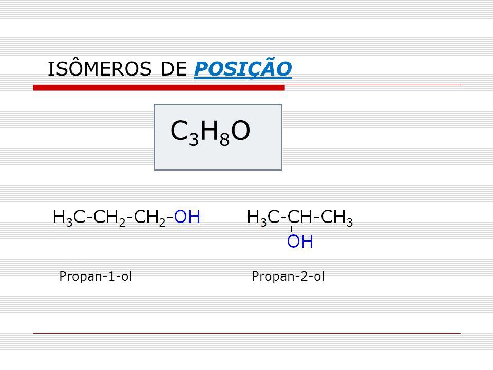 ISÔMEROS DE POSIÇÃO C3H8O Propan-1-ol Propan-2-ol