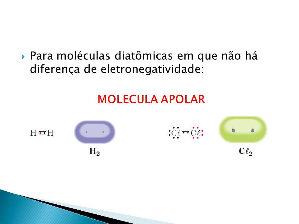 Para moléculas diatômicas em que não há diferença de eletronegatividade: