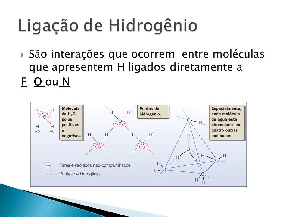 Ligação de Hidrogênio São interações que ocorrem entre moléculas que apresentem H ligados diretamente a.