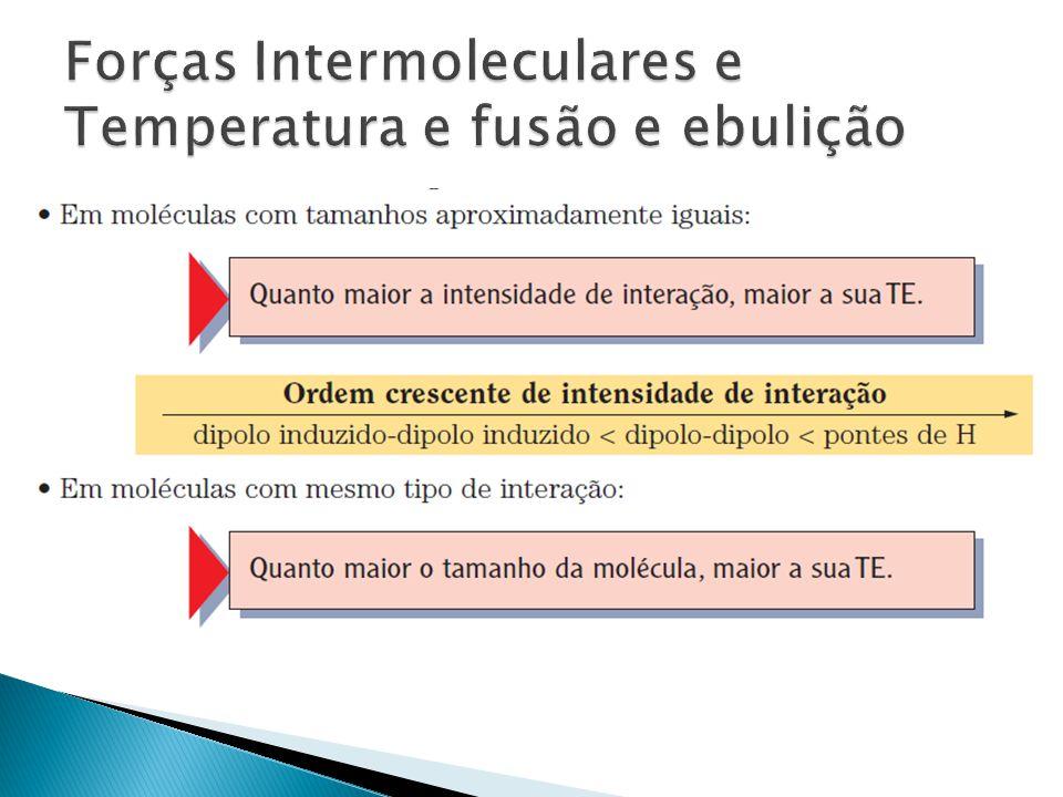 Forças Intermoleculares e Temperatura e fusão e ebulição