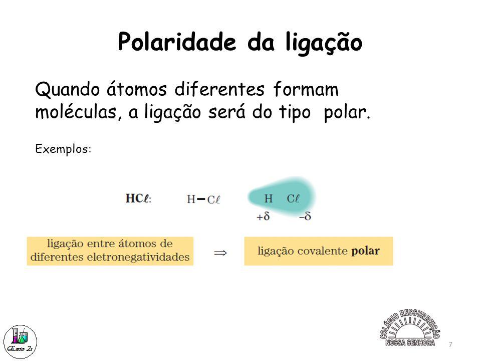 Polaridade da ligação Quando átomos diferentes formam moléculas, a ligação será do tipo polar.