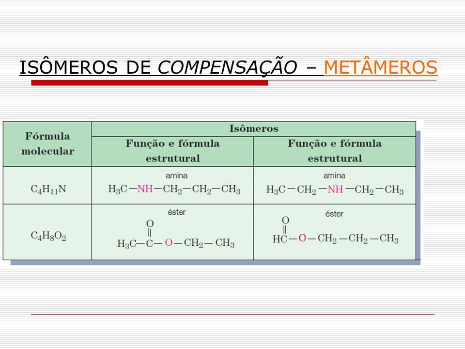 ISÔMEROS DE COMPENSAÇÃO – METÂMEROS