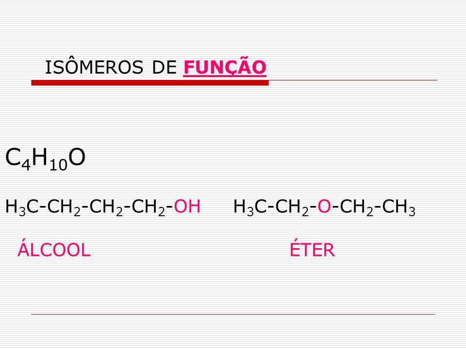 C4H10O H3C-CH2-CH2-CH2-OH H3C-CH2-O-CH2-CH3 ÁLCOOL ÉTER