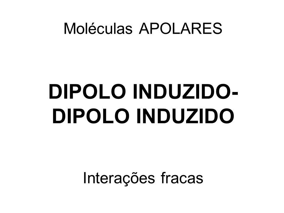 Moléculas APOLARES DIPOLO INDUZIDO-DIPOLO INDUZIDO Interações fracas
