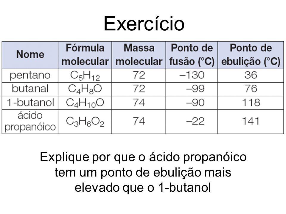 Exercício Explique por que o ácido propanóico tem um ponto de ebulição mais elevado que o 1-butanol.