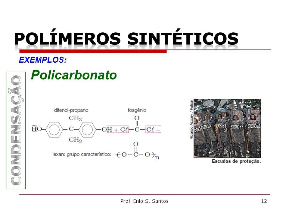 POLÍMEROS SINTÉTICOS Policarbonato CONDENSAÇÃO EXEMPLOS: