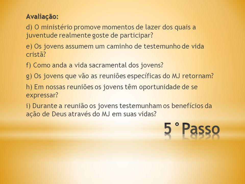 Avaliação: d) O ministério promove momentos de lazer dos quais a juventude realmente goste de participar
