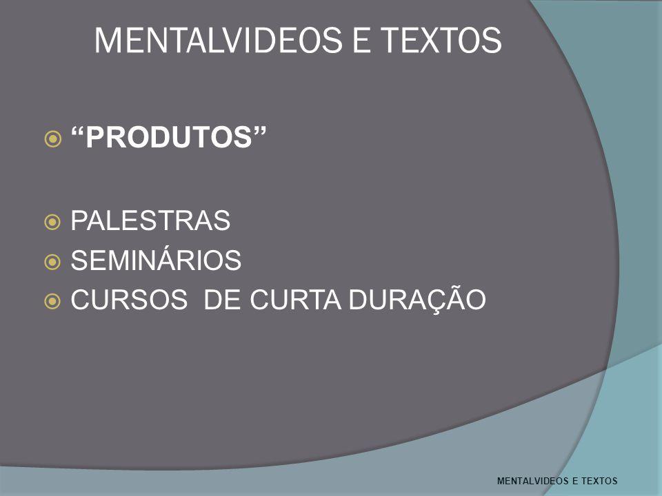 MENTALVIDEOS E TEXTOS PRODUTOS PALESTRAS SEMINÁRIOS