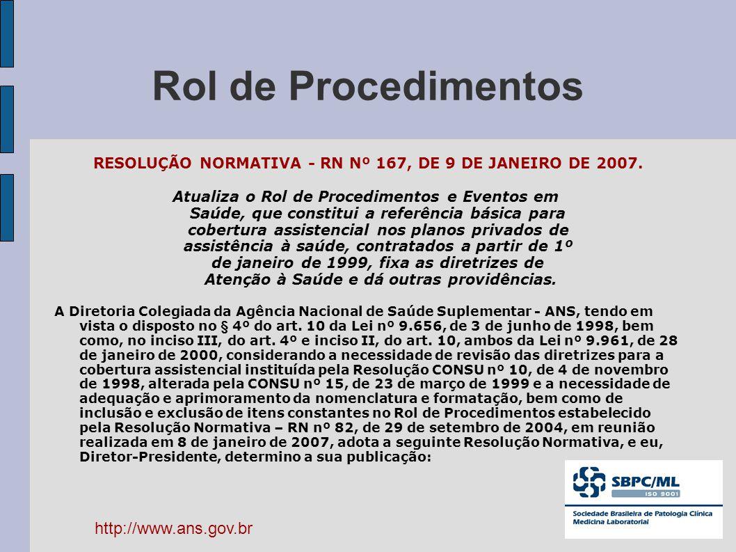RESOLUÇÃO NORMATIVA - RN Nº 167, DE 9 DE JANEIRO DE 2007.