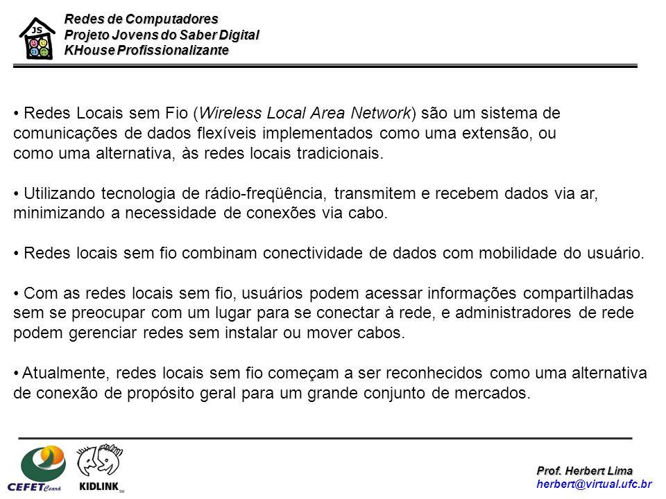 Redes Locais sem Fio (Wireless Local Area Network) são um sistema de