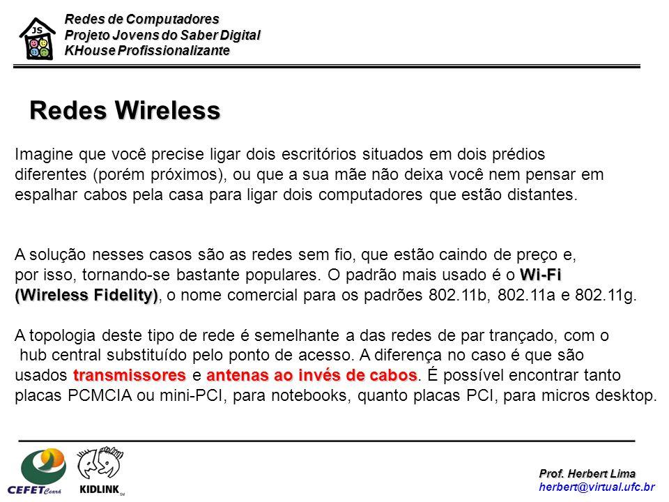 Redes de Computadores Projeto Jovens do Saber Digital. KHouse Profissionalizante. Redes Wireless.