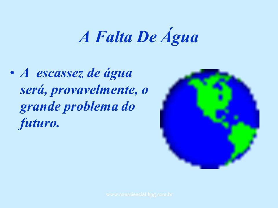 A Falta De Água A escassez de água será, provavelmente, o grande problema do futuro.