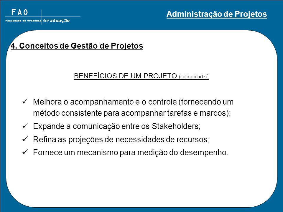 BENEFÍCIOS DE UM PROJETO (cotinuidade):