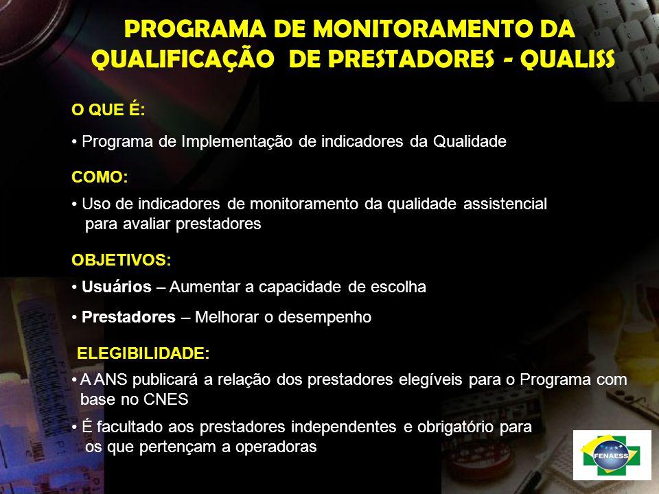 PROGRAMA DE MONITORAMENTO DA QUALIFICAÇÃO DE PRESTADORES - QUALISS