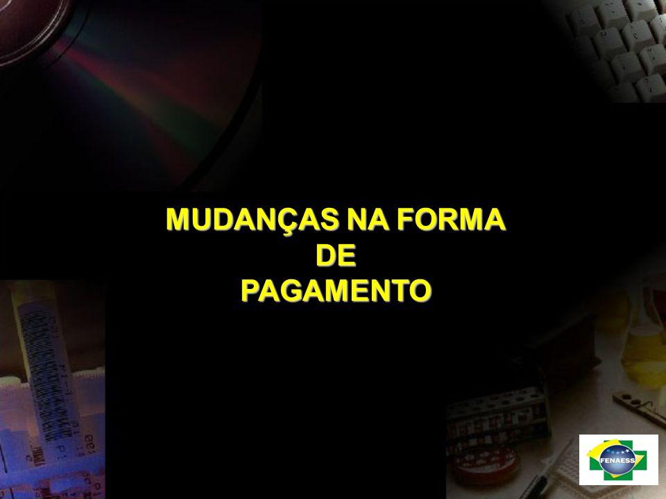 MUDANÇAS NA FORMA DE PAGAMENTO