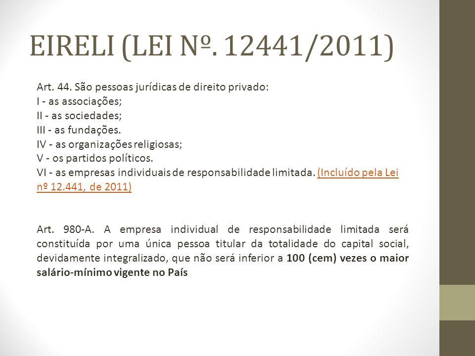 EIRELI (LEI Nº. 12441/2011) Art. 44. São pessoas jurídicas de direito privado: I - as associações;