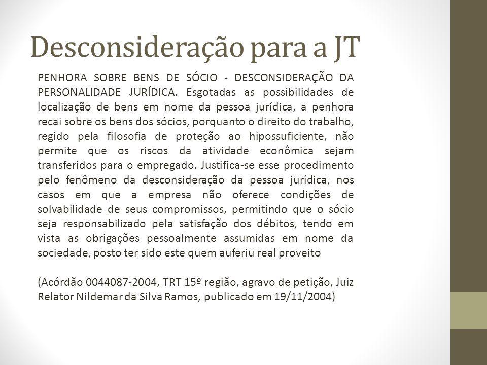 Desconsideração para a JT