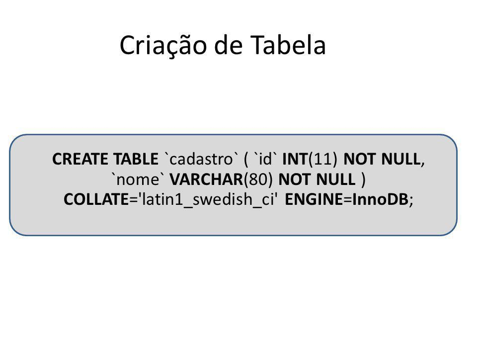 Criação de Tabela CREATE TABLE `cadastro` ( `id` INT(11) NOT NULL, `nome` VARCHAR(80) NOT NULL ) COLLATE= latin1_swedish_ci ENGINE=InnoDB;