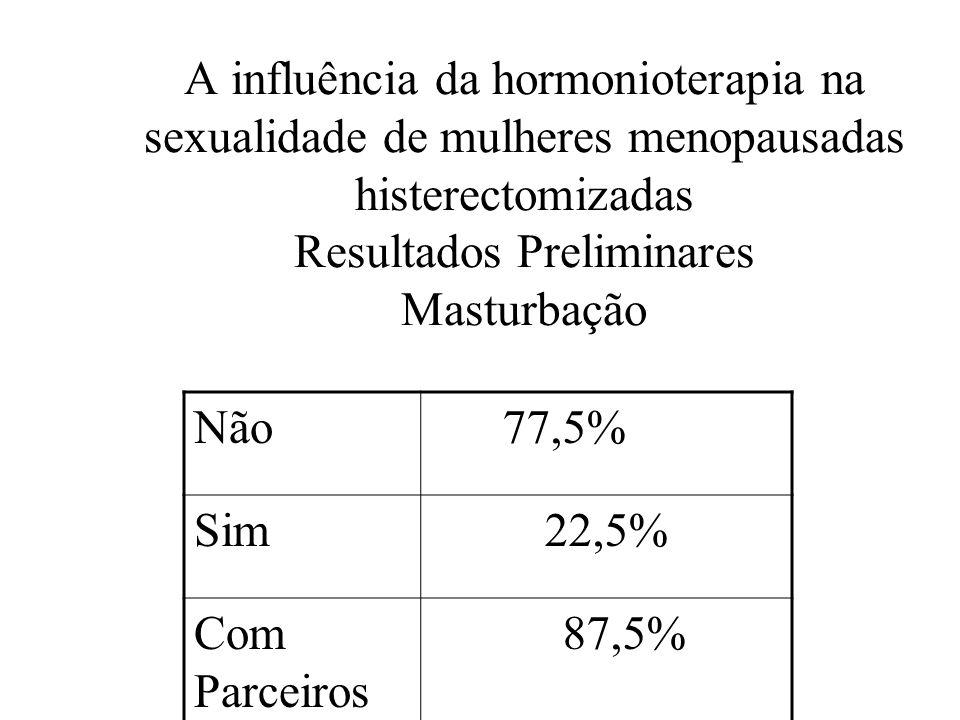 A influência da hormonioterapia na sexualidade de mulheres menopausadas histerectomizadas Resultados Preliminares Masturbação