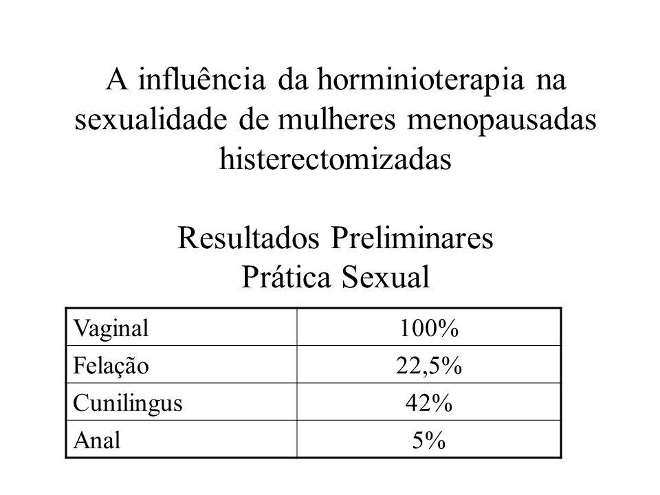 A influência da horminioterapia na sexualidade de mulheres menopausadas histerectomizadas Resultados Preliminares Prática Sexual