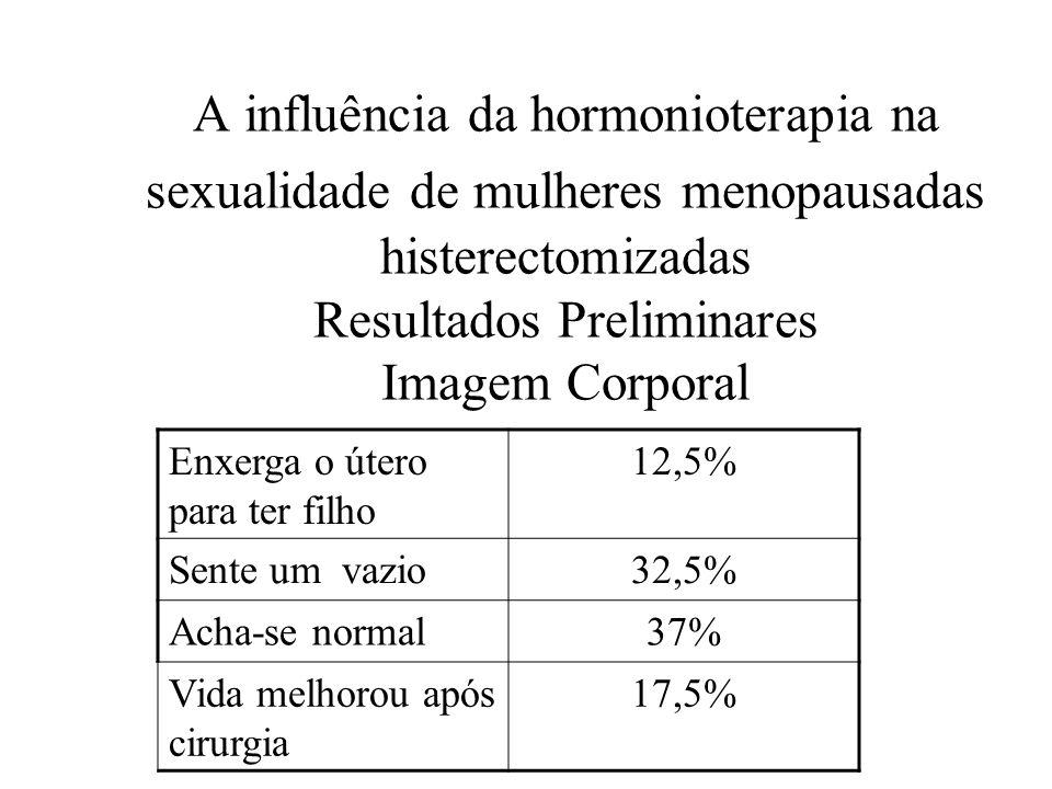 A influência da hormonioterapia na sexualidade de mulheres menopausadas histerectomizadas Resultados Preliminares Imagem Corporal